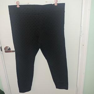 NWT LOFT BLACK PANTS WITH BLACK POLKA DOTS SZ XL